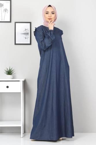 Tesettür Dünyası - Plus Size Ruffled Dress TSD1558 Navy Blue (1)