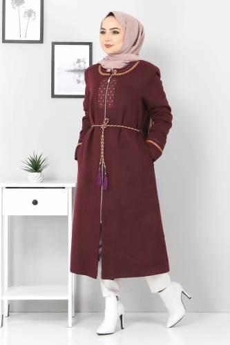 Tesettür Dünyası - Large Size Embroidered Cachet Coat TSD00246 Plum