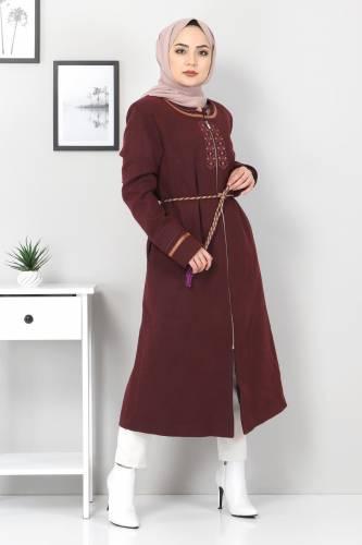 Tesettür Dünyası - Large Size Embroidered Cachet Coat TSD00246 Plum (1)