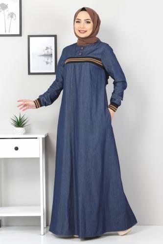 Tesettür Dünyası - Büyük Beden Ribanalı Kot Elbise TSD4184 Koyu Mavi