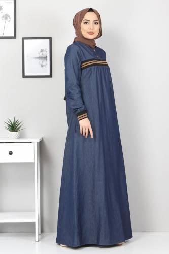 Tesettür Dünyası - Büyük Beden Ribanalı Kot Elbise TSD4184 Koyu Mavi (1)