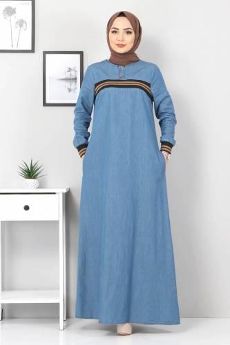 Tesettür Dünyası - Büyük Beden Ribanalı Kot Elbise TSD4184 Açık Mavi