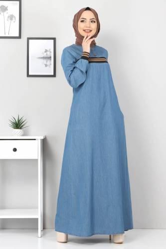 Tesettür Dünyası - Büyük Beden Ribanalı Kot Elbise TSD4184 Açık Mavi (1)