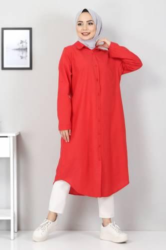 Tesettür Dünyası - Büyük Beden Uzun Tunik TSD2565 Kırmızı