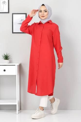 Tesettür Dünyası - Büyük Beden Uzun Tunik TSD2565 Kırmızı (1)