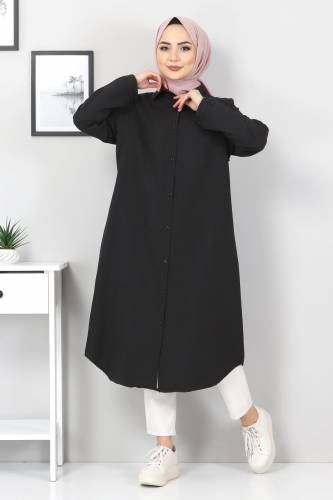 Tesettür Dünyası - Büyük Beden Uzun Tunik TSD2565 Siyah