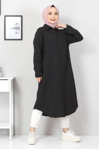 Tesettür Dünyası - Büyük Beden Uzun Tunik TSD2565 Siyah (1)