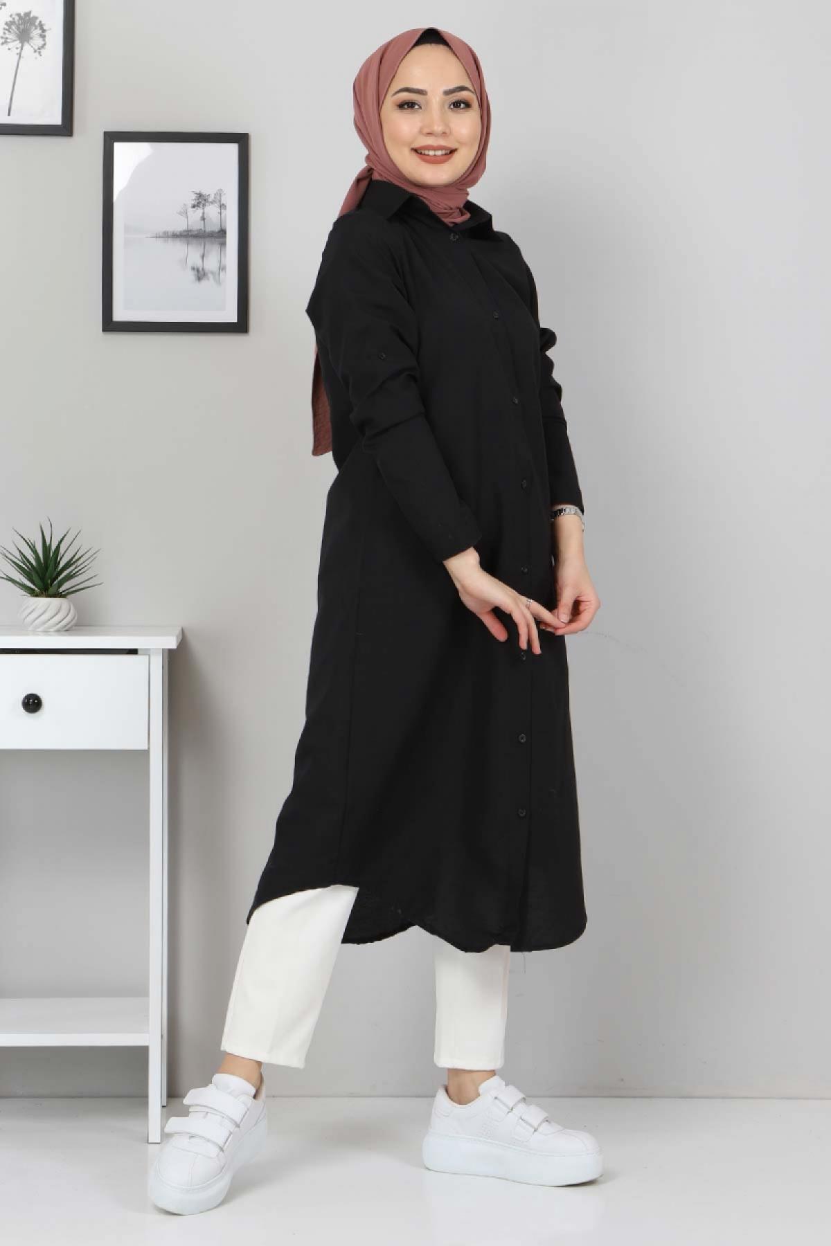 Büyük Beden Uzun Tunik TSD3565 Siyah