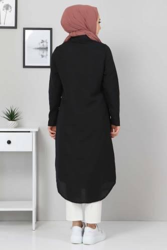 Büyük Beden Uzun Tunik TSD3565 Siyah - Thumbnail