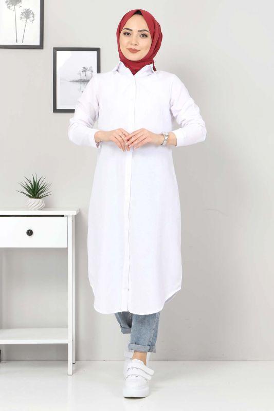 Büyük Beden Uzun Tunik TSD3565 Beyaz