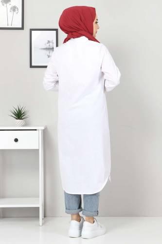 Büyük Beden Uzun Tunik TSD3565 Beyaz - Thumbnail