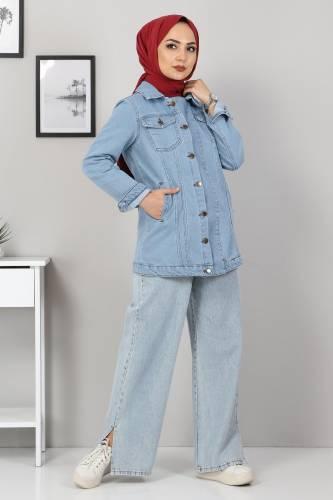 Tesettür Dünyası - Buttoned Jeans Jacket TSD5500 Light Blue (1)