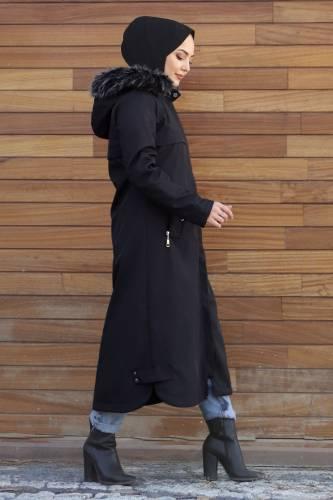 Cebi Fermuarlı Kapaklı Mont TSD1942 Siyah - Thumbnail