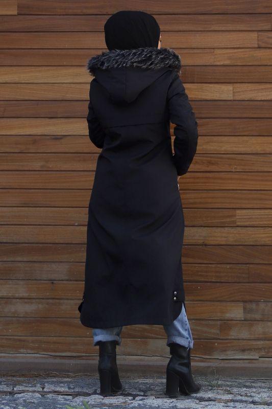 Cebi Fermuarlı Kapaklı Mont TSD1942 Siyah