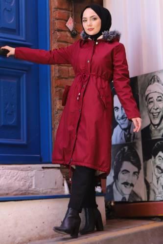 Tesettür Dünyası - Pocket Covered Coat TSD1946 Claret Red
