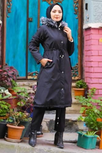 Tesettür Dünyası - Women's Pocket Coat TSD1946 Black (1)