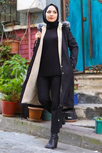Tesettür Dünyası - Women's Pocket Coat TSD1946 Black