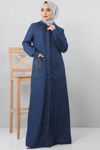 Cebi Nakışlı Kot Kap TSD1131 Koyu Mavi - Thumbnail
