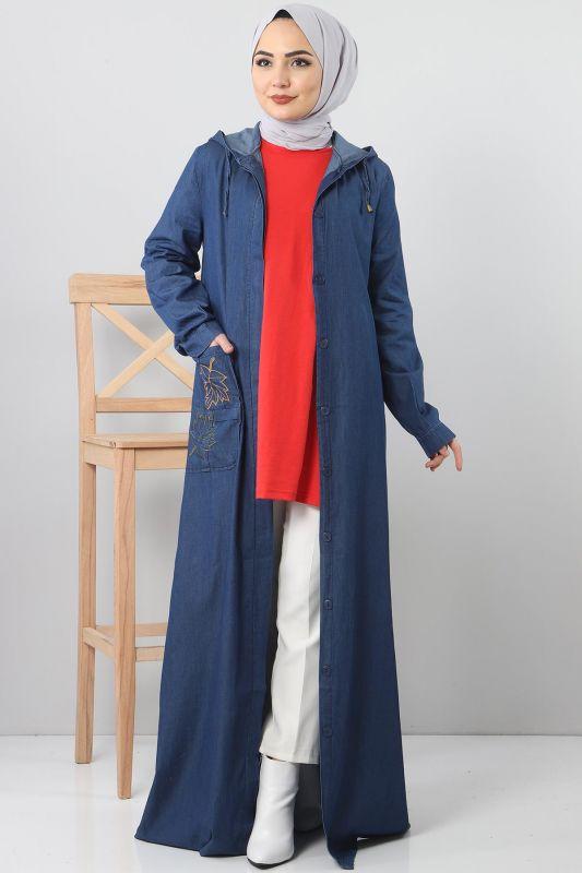 Cebi Nakışlı Kot Kap TSD1131 Koyu Mavi