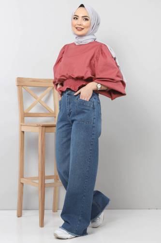 Tesettür Dünyası - Cep Detaylı Bol Paça Pantolon TSD22023 Açık Mavi