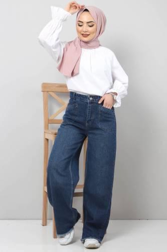 Tesettür Dünyası - Cep Detaylı Bol Paça Pantolon TSD22023 Koyu Mavi