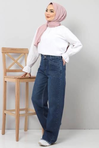 Tesettür Dünyası - Cep Detaylı Bol Paça Pantolon TSD22023 Koyu Mavi (1)