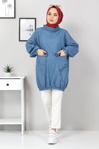 Tesettür Dünyası - Cep Detaylı Kot Tunik TSD22071 Açık Mavi