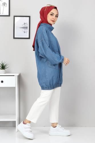 Tesettür Dünyası - Cep Detaylı Kot Tunik TSD22071 Açık Mavi (1)