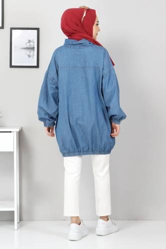 Cep Detaylı Kot Tunik TSD22071 Açık Mavi - Thumbnail
