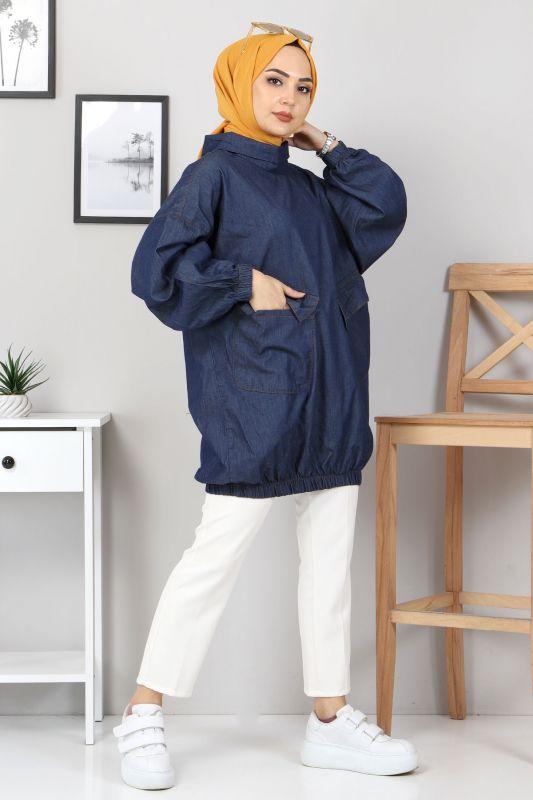 Cep Detaylı Kot Tunik TSD22071 Koyu Mavi