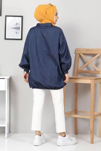 Cep Detaylı Kot Tunik TSD22071 Koyu Mavi - Thumbnail