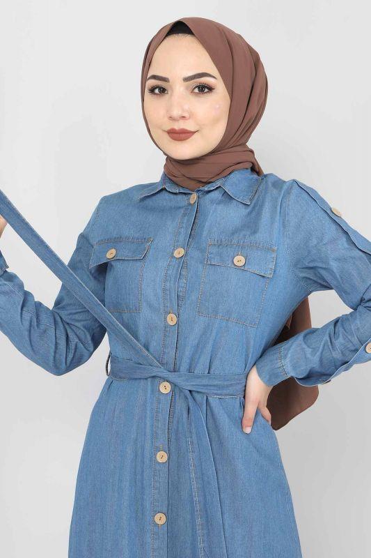Cepli Düğmeli Kot Elbise TSD0388 Açık Mavi