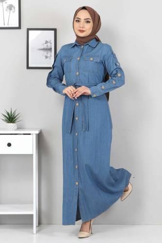 Cepli Düğmeli Kot Elbise TSD0388 Açık Mavi - Thumbnail