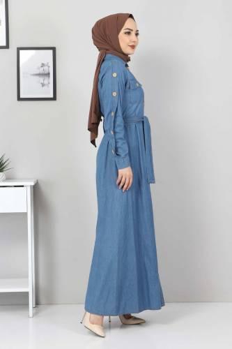 Tesettür Dünyası - Pocket Buttoned Jeans Dress TSD0388 Light Blue (1)