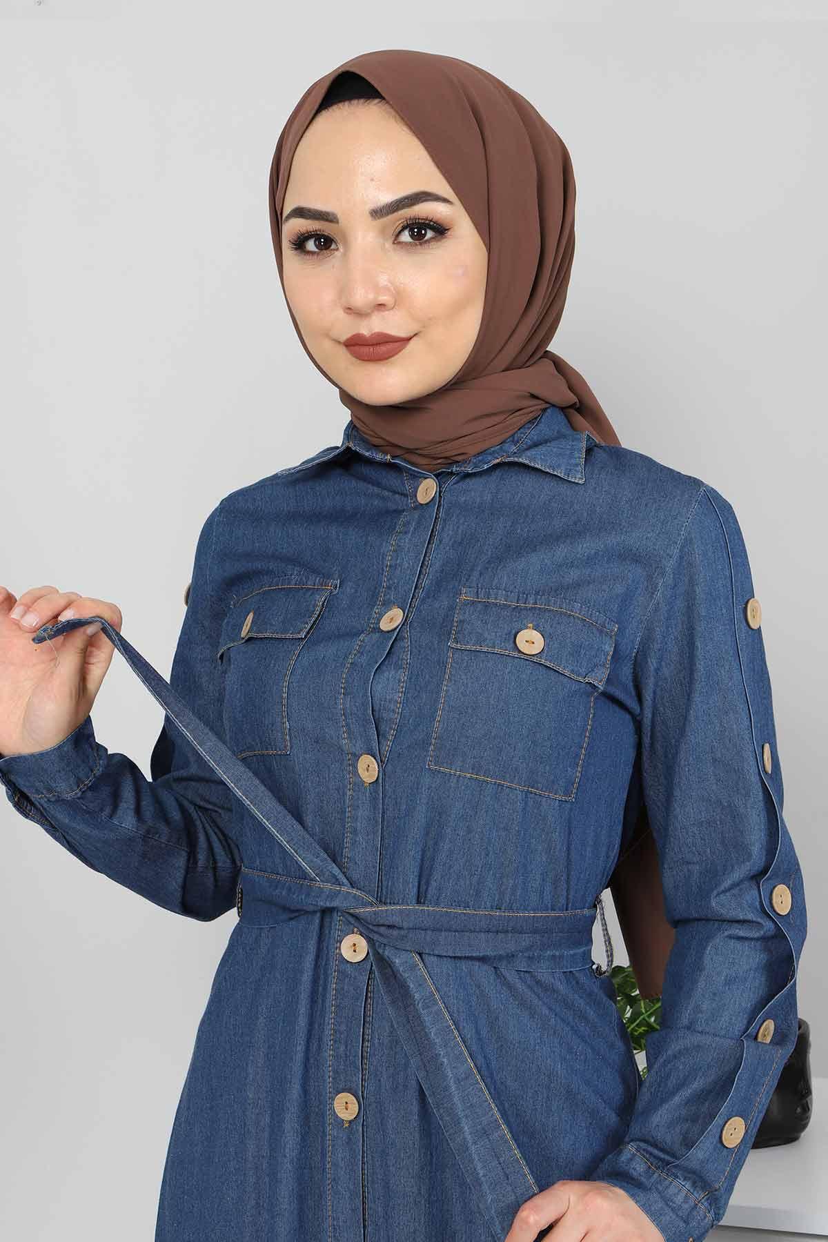 Cepli Düğmeli Kot Elbise TSD0388 Koyu Mavi