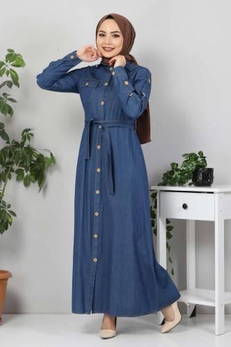 Cepli Düğmeli Kot Elbise TSD0388 Koyu Mavi - Thumbnail