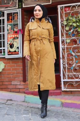 Tesettür Dünyası - Pocket Coat TSD1948 Dark Yellow (1)
