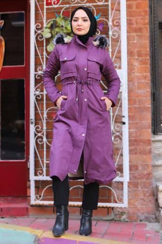 Tesettür Dünyası - Pocket Coat TSD1948 Purple