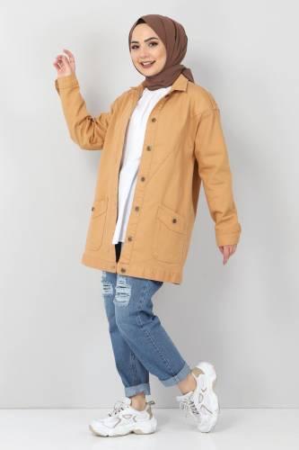 Tesettür Dünyası - Jeans Pocket Jacket TSD0078 Tobacco (1)