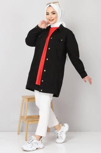 Tesettür Dünyası - Cepli Kot Ceket TSD2519 Siyah