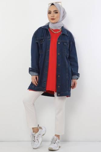Tesettür Dünyası - Cepli Kot Ceket TSD2519 Koyu Mavi