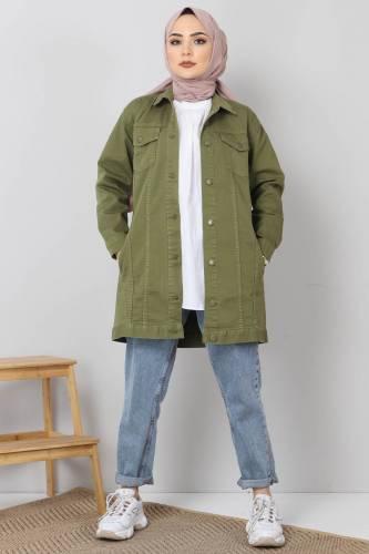 Tesettür Dünyası - Cepli Kot Ceket TSD2519 Yeşil