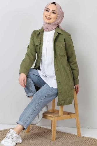Tesettür Dünyası - Cepli Kot Ceket TSD2519 Yeşil (1)