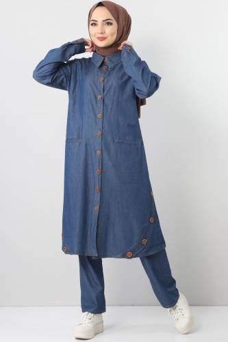 Cepli Kot İkili Takım TSD2457 Koyu Mavi - Thumbnail