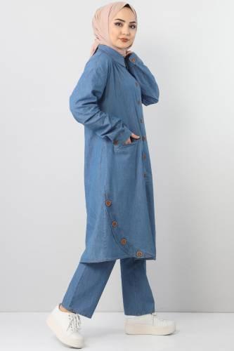 Cepli Kot İkili Takım TSD2457 Açık Mavi - Thumbnail
