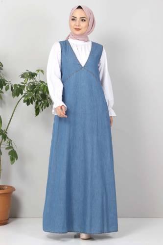 Tesettür Dünyası - Pocket Jeans Gilet TSD4112 Light Blue