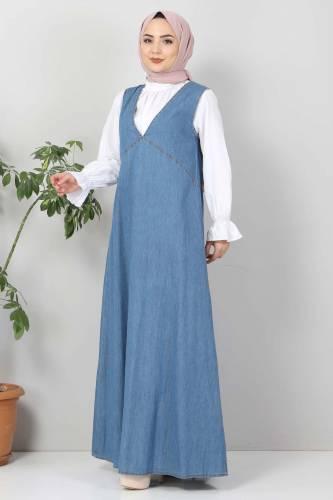 Tesettür Dünyası - Pocket Jeans Gilet TSD4112 Light Blue (1)