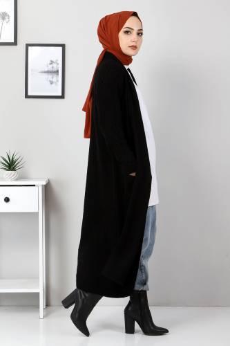 Tesettür Dünyası - Cepli Uzun Triko Hırka TSD2481 Siyah (1)