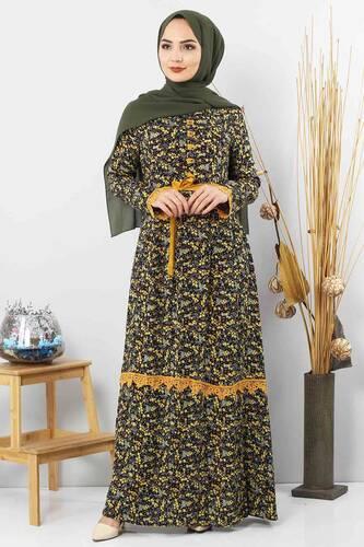 Tesettür Dünyası - Çiçek Desenli Dantel Detaylı Elbise TSD3058 Hardal