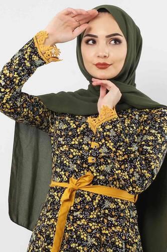 Tesettür Dünyası - Çiçek Desenli Dantel Detaylı Elbise TSD3058 Hardal (1)